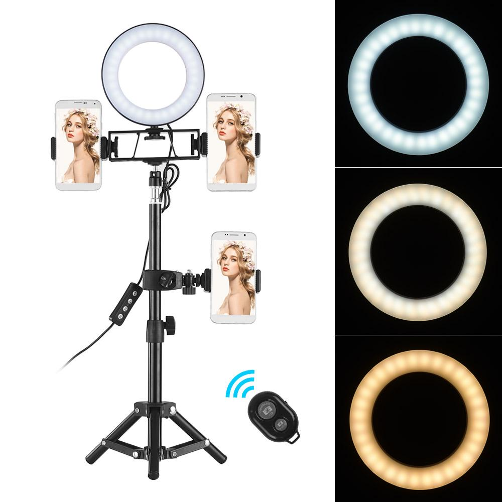 6 Inch Andoer Ring Light Kit 3 Light Modes with Wireless Remote Control,Tripod Stand and 3 Cell Phone Holders Camera Lighting Kit for YouTube Video Live Stream Makeup Selfie for Most Smartphone