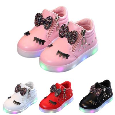 Baby Kids Girls Crystal Sport Shoes Bowknot LED Luminous Boots Sneakers Bow Shoes Gift Cute Shoes