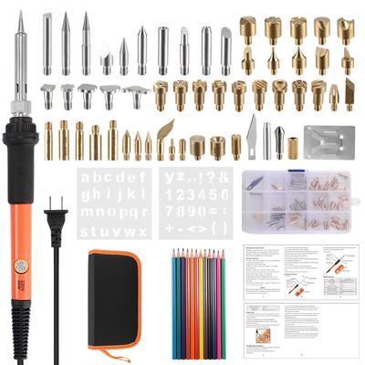 71pcs Wood Burning Kit Wood Burning Pyrography Pen Tool Kit 60W with Temp Pen,