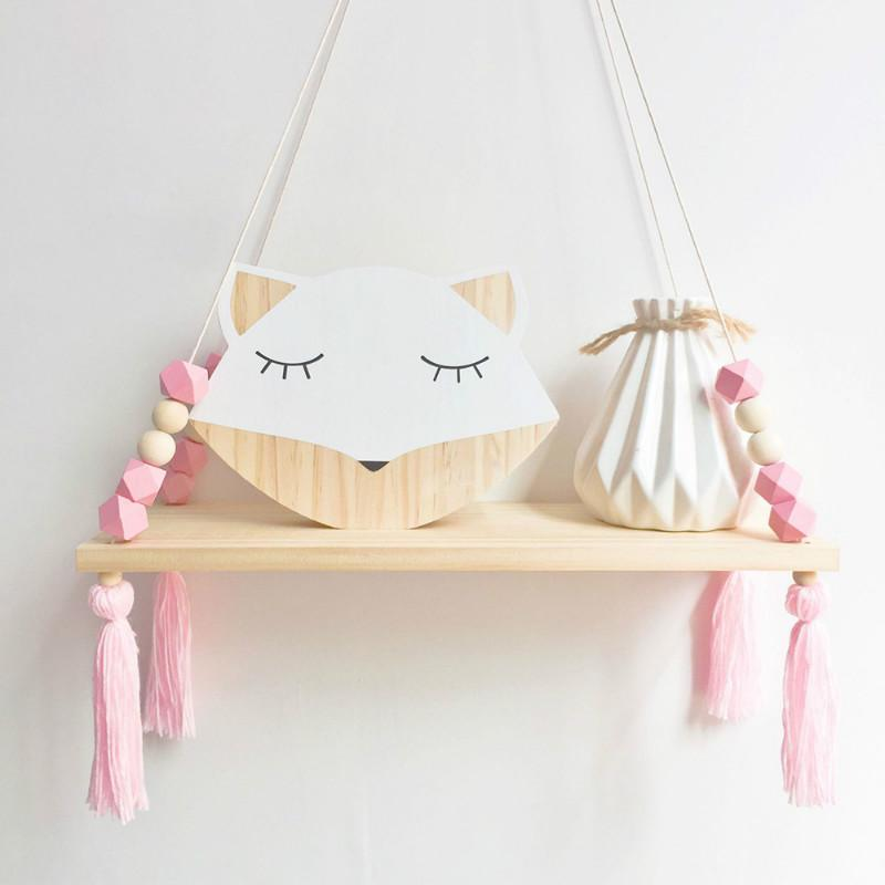 Wall Hanging Shelf Wood Rope Swing Shelves Storage Holder Baby Kids Room Decor