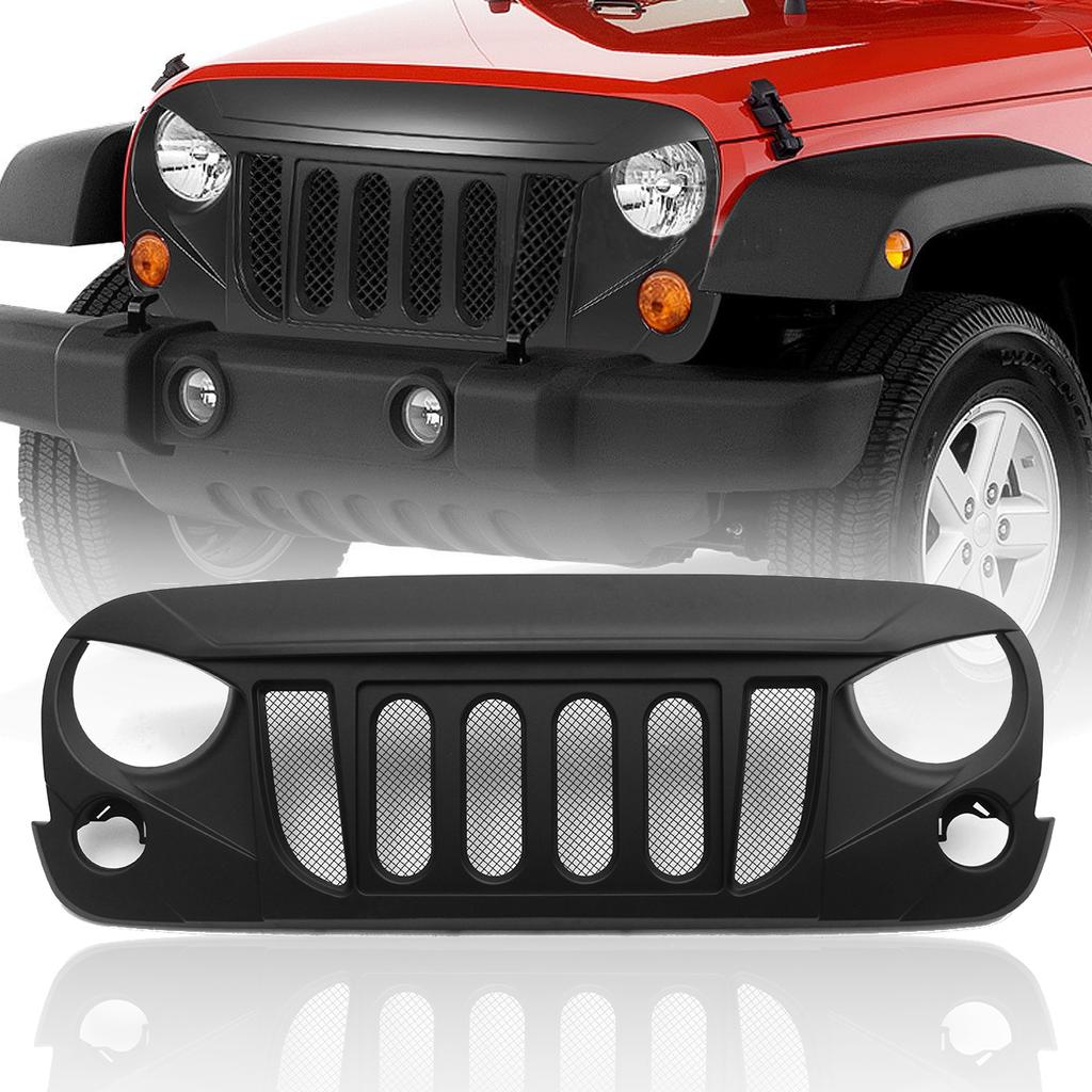 7Pcs Gloss Black Front Grill Mesh Grille Inserts Kit for Jeep Wrangler /& Wrangler Unlimited 2007-2015 Upgrade Clip in Version