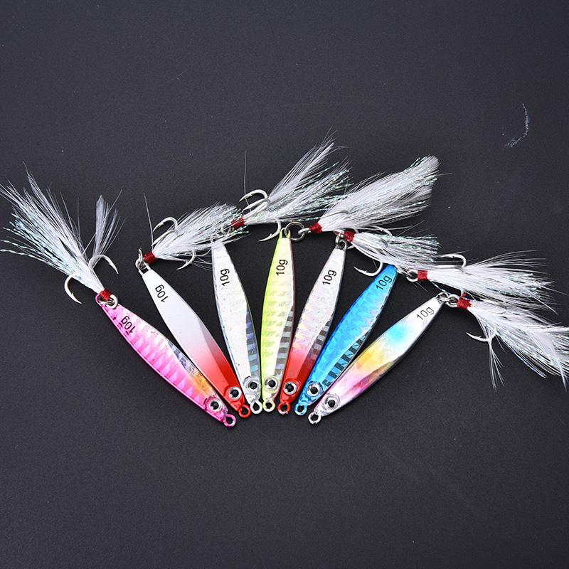 1pc metal jig fishing lure with feather 10g artificial bait freshwater jiggS/&K