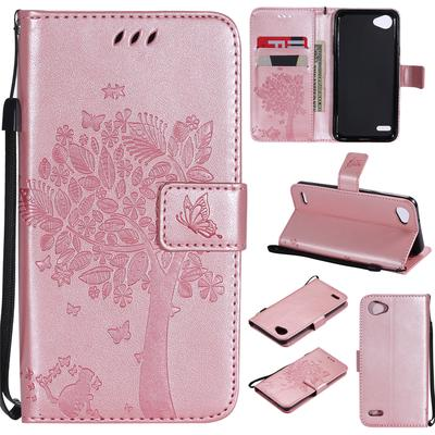 Pu Leather Wallet Case Card Slots Cover For Lg Q6 Rose Gold