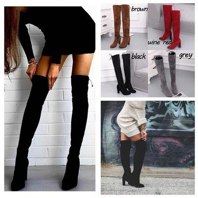 Fashion Womens Knight Furry Over Knee Thigh Boots Faux Suede Zip Shoes Plus Size