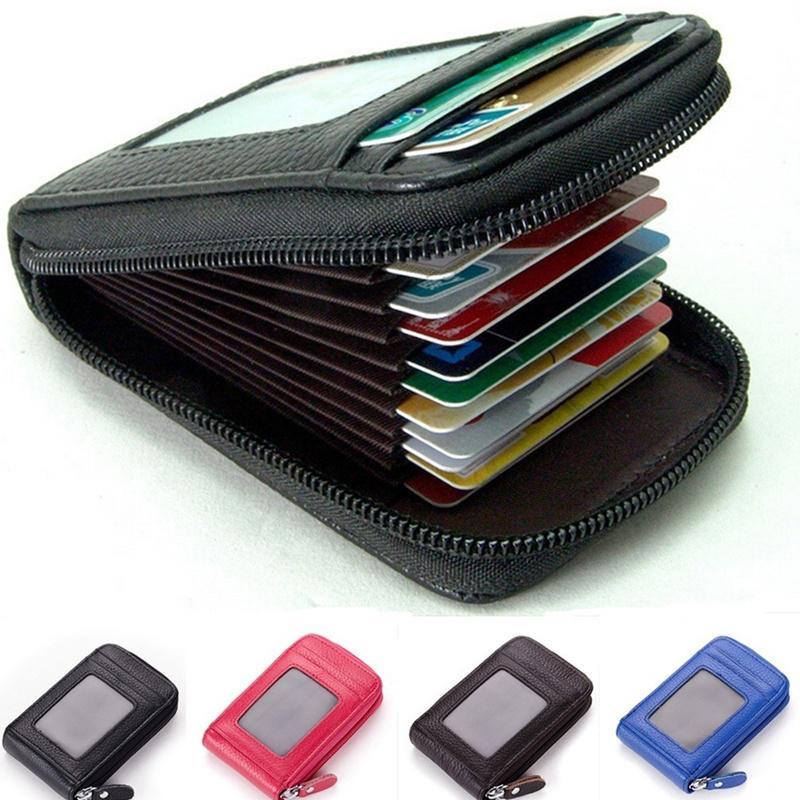 Leather Purpose Pocket ID Credit Card Bank Card Case for Men Women Universal GA