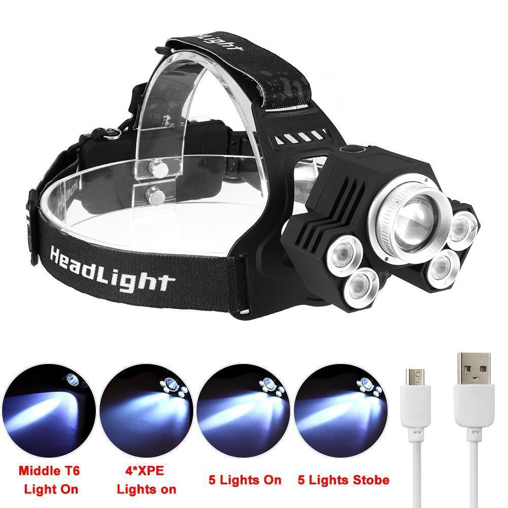 Outdoor 90000LM 5X XM-L T6 LED Rechargeable Headlamp Headlight Travel Head Torch