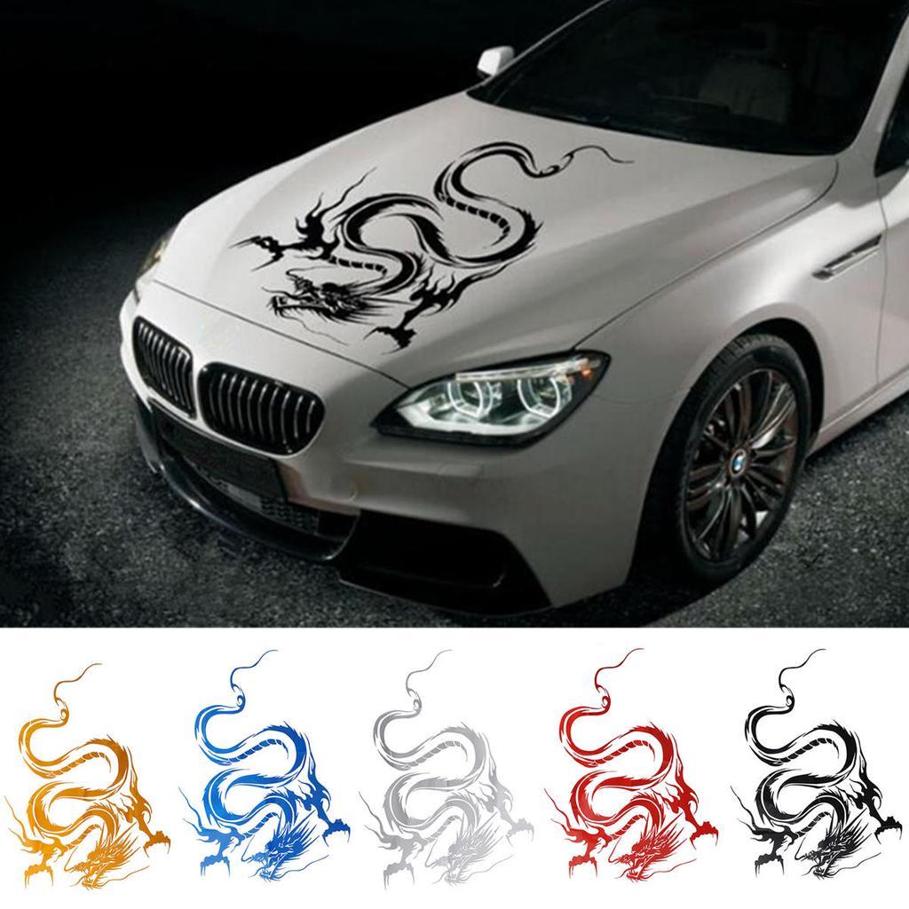 Car Hood Body Graphic Black Wrap Sticker Decal Dragon Black Racing Sport Reflect
