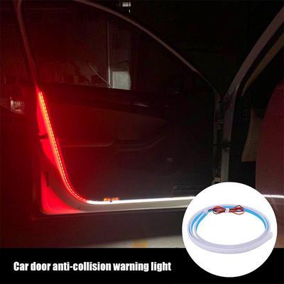LECART 2Pcs RGB Car Door Warning Light Car Door Streamer Warning Light Auto Door Opening Warning Flashing Lamp Anti-Collision Strobe Strip Light Auto Interior Lights Car Door Decor Safety Led Light