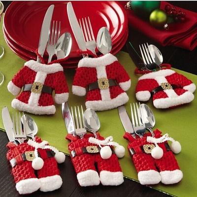 6 Pcs Christmas Xmas New Year Santa Silverware Holders Christmas Decorations Pockets Dinner Decor
