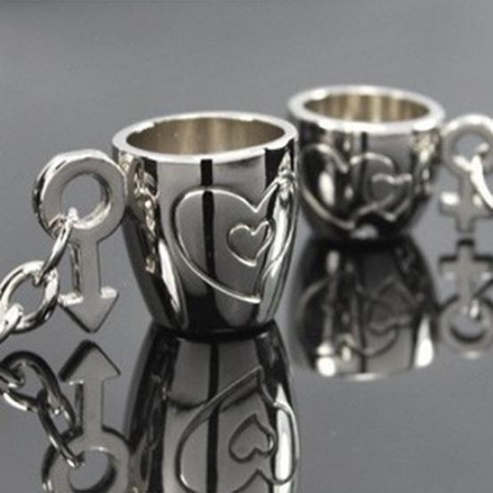 2шт, творческие любовника дар любви наносили сердце Кубок брелок брелок брелок кольцо фото