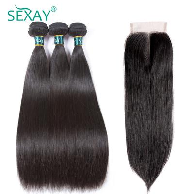 Ombre Bundles With Closure 3 Bundles With Closure T1b/ Green Dark Roots Turquoise Silk Straight Human Hair Human Hair Weaves