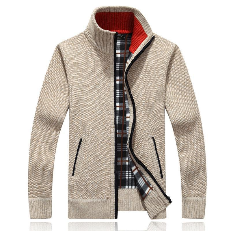 Autumn Winter Men's Sweaters Warm Cashmere Wool Zipper Pullover Casual Knitwear Plus Size Coat
