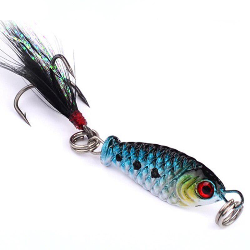 4Pcs 1/'/' Fishing Lure Mini Metal Minnow Hard Bait Tackle 3D Eyes Fishing 2.5cm