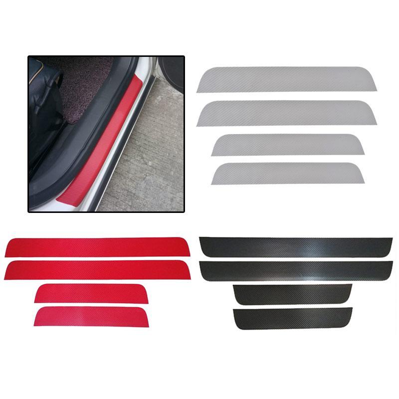 Anti-colisión tira Molduras Exterior 7cm*1m Fibra De Carbono Puerta De Coche Rojo