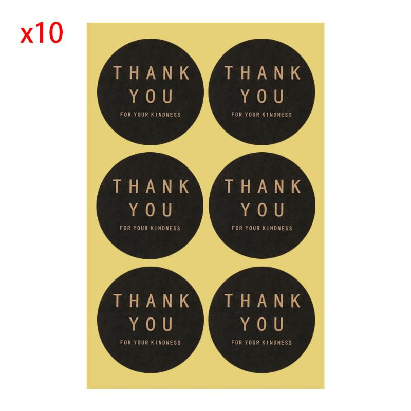 60pcs Square Circle Shape Thank you Handmade Package Sealing Label Sticker