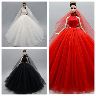 """Red High Neck Fashion Wedding Dress For 11.5/"""" Doll Outfits Party Gown Clothes"""