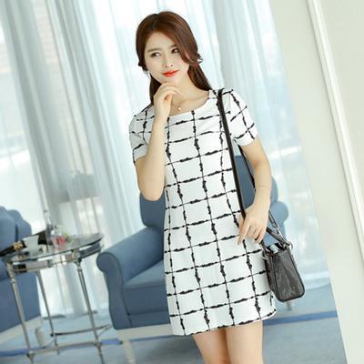 e8a35c227c85 Sukienka z krótkim rękawem koreańskich kobiet Slim-fit z dzianiny sukienka  Plaid wzór
