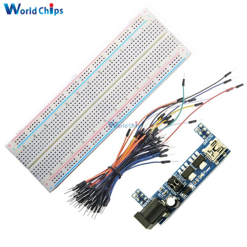 MB102 Solderless Mini Breadboard 400 Mini USB Power Supply+65PCS Jump Cable Wire