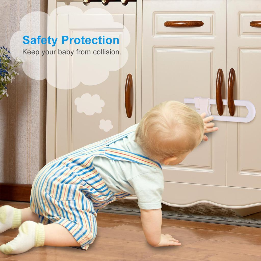 2X Kids Child Safety Lock Proof Cabinet Drawer Fridge Cupboard Door Toddler Baby