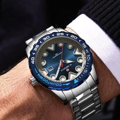 Business Mens Watches Top Brand Luxury Naviforce Lumious Hands Quartz Watch Men Unique Stainless Steel Wristwatches Mens