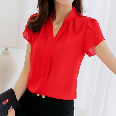 Blouse Women Fashion Casual Short Sleeves Chiffon Shirt Summer Tops Formal Office Blouse Plus Size