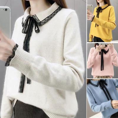 Women Turndown Collar Lace Sweater Onesize Long Sleeve Student Girls Knitting Sweaters Pullovers