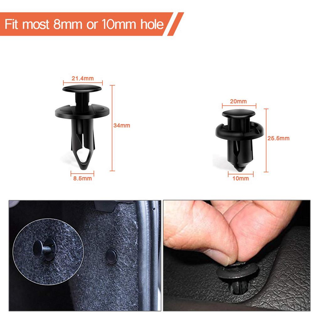 100X Durable Plastics Mixed Fasteners Fixed Buckle Rivet Push Clips for Car Body