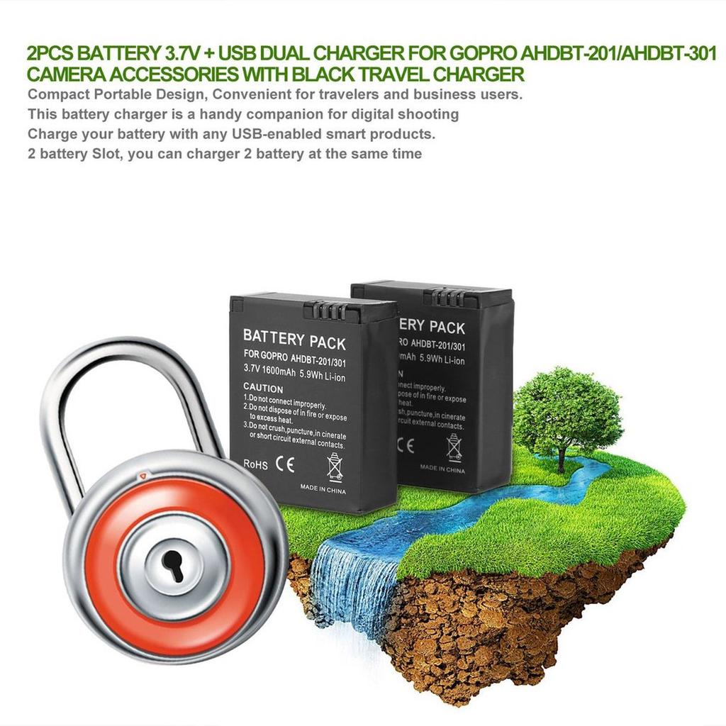Cc 2pcs Battery 37v Usb Dual Charger For Gopro Ahdbt 201 Circuit Design 1 Of 12