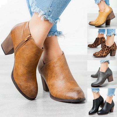 Womens Suede Ankle Booties Retro Pointed Toe Short Boots Casual Side Zip Stacked Chunky Block Heels Shoes