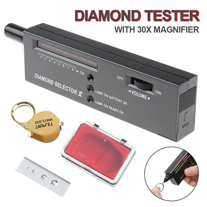 Portable Diamond Tester Gemstone Tester Selector Jeweler Tool With 30x Magnif/_H5
