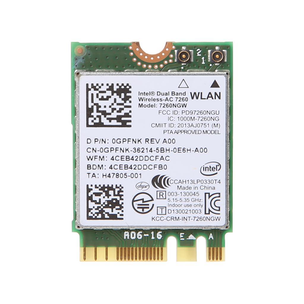 Bluetooth 4.0 7260NGW 7260 Intel Wireless-N 7260 NGFF 802.11bgn 2.4GHz Wi-Fi