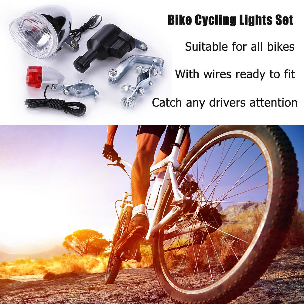 Bike Cycling Dynamo Lights Set Bycicle Safety No Batteries Needed Headlight Rear