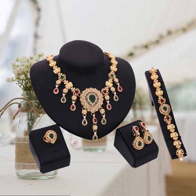30d37da018d5 Collar pulsera oro aleación anillo aretes pulsera suspensión boda joyería  nupcial conjunto