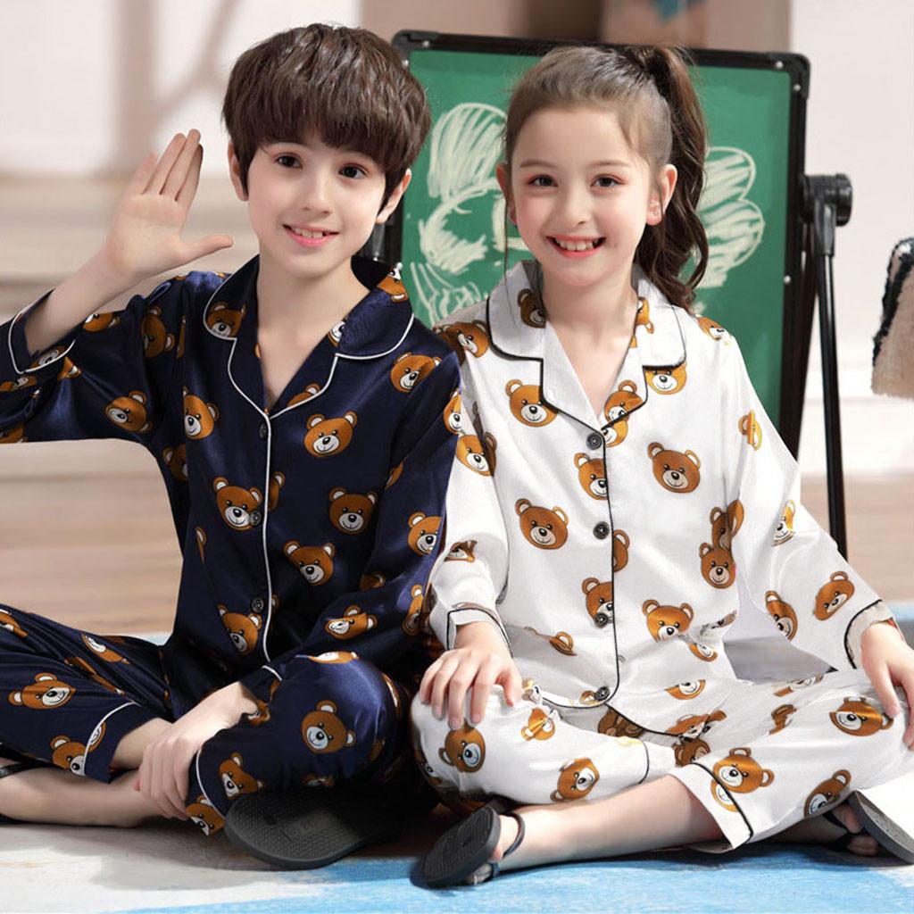 Toddler Baby Boy Girl Short Sleeve Cartoon Tops+Pants Pajamas Sleepwear Outfits