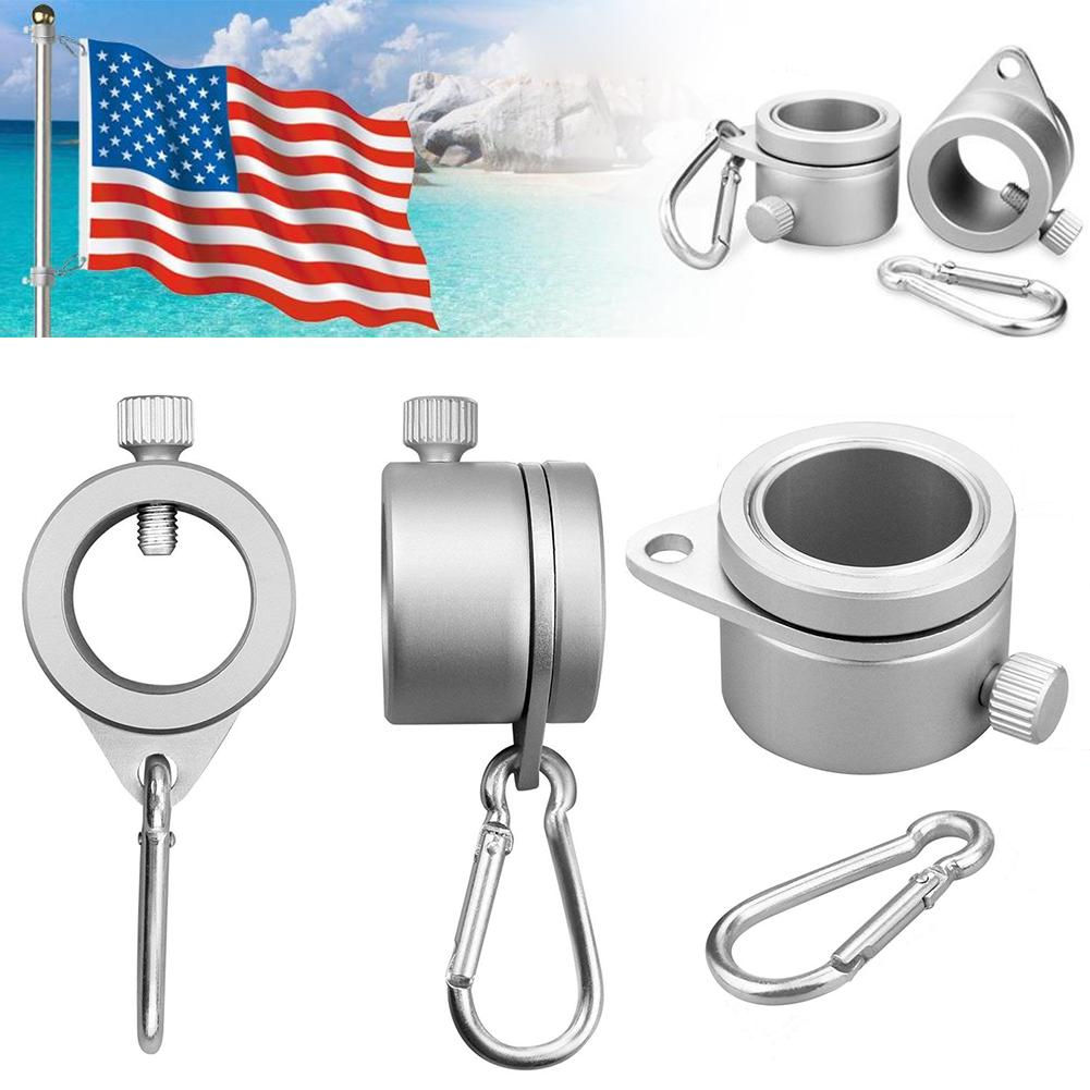 2X Alloy Metal Flag Pole Flagpole Rotating Rings Clip Anti-Wrap Grommet Mounting