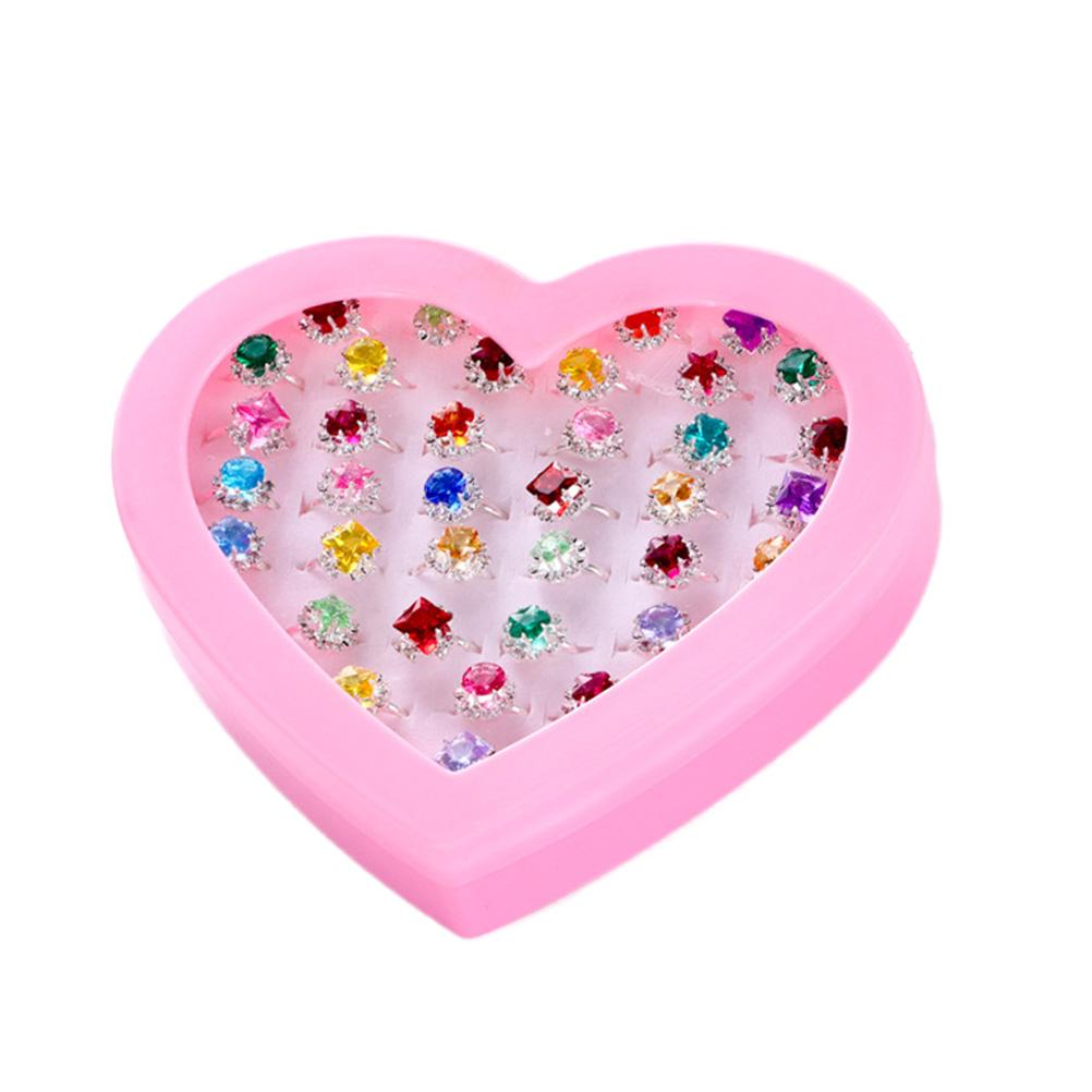 Eternal Cover 1Box//36pcs Heart Rings Adjustable Kids Jewelry Party Gift NDT