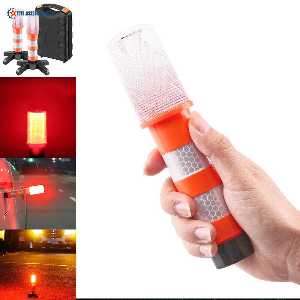 2pcs 3 in 1 LED Flashing Roadside Emergency Beacon Flares Kit ORANGE Color