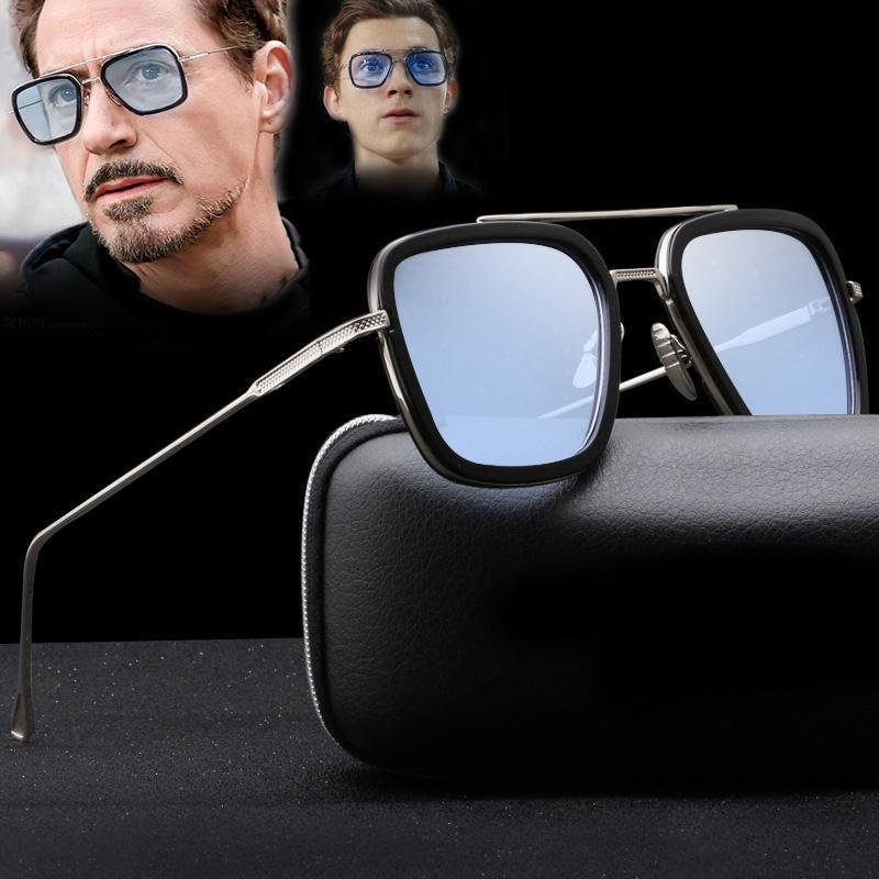 Herren Tony Stark Iron Man Sonnenbrille Quadrat Retro Brillen Mode UV400 Schut