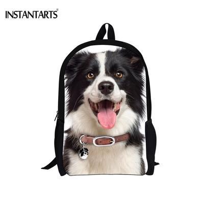 500f47c2e Perro 3D animales Border Collie lindo imprimió bolsos de escuela de  muchachos adolescentes niñas Casual vuelta
