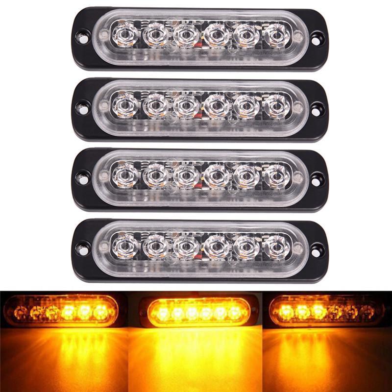 4x Green White 6 LED Light Flash Emergency Car Vehicle Warning Strobe Flashing