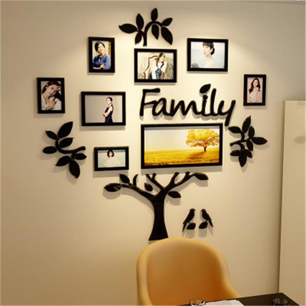 3D Photo Frame Wall Sticker Family Dream House Art Office Home Bedroom Decor