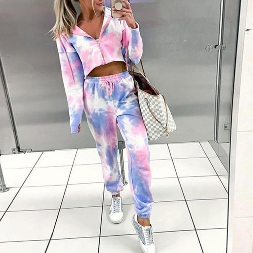 Tie Dye Jogger and cropped hoodie set tracksuit