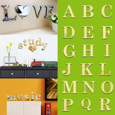 Creative 3D Mirror Wall Sticker Acrylic 26 Letters DIY Wall Decal Home Decor