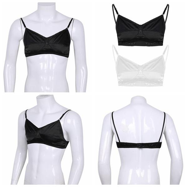 Men Sissy Lace See Through Bra Wire-Free Bralette Y-shape Tops Cosplay Costume