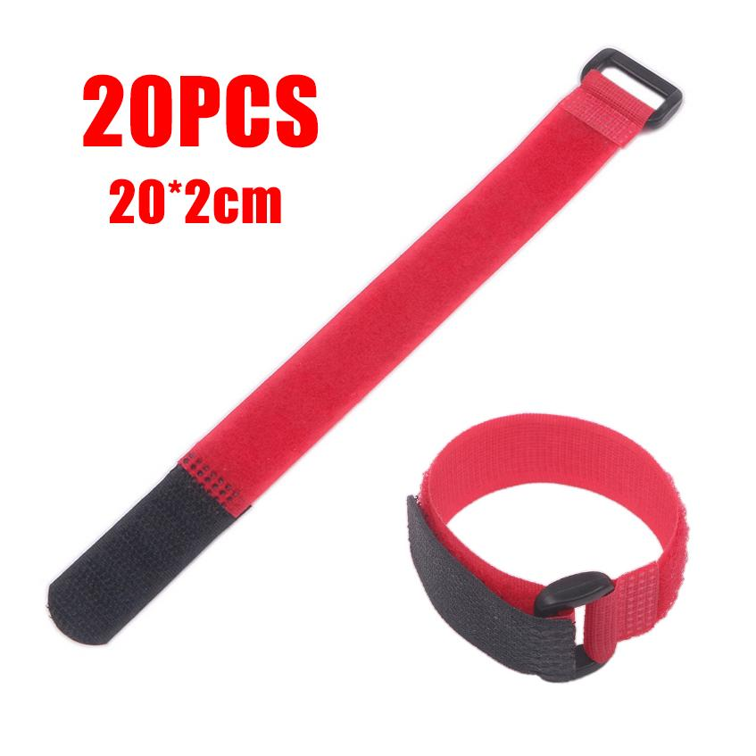 2 x 20cm RED Reusable Nylon Strap Hook and Loop Cord Cable Ties Tidy Wrap