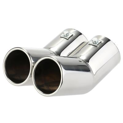 Tbest Car Tailpipe Trims Exhaust Muffler Tail Pipe 1 Pair 670g Stainless Steel Exhaust Muffler Tail Pipe Tip Tailpipe for A4 B8 2007-2014 Silver