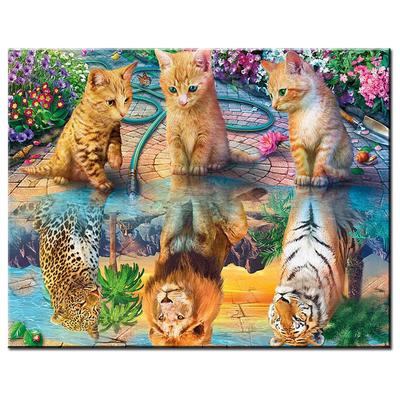 Full Drill DIY 5D Diamond Painting Cross Stitch Kit Cat /& Tiger Embroidery Decor