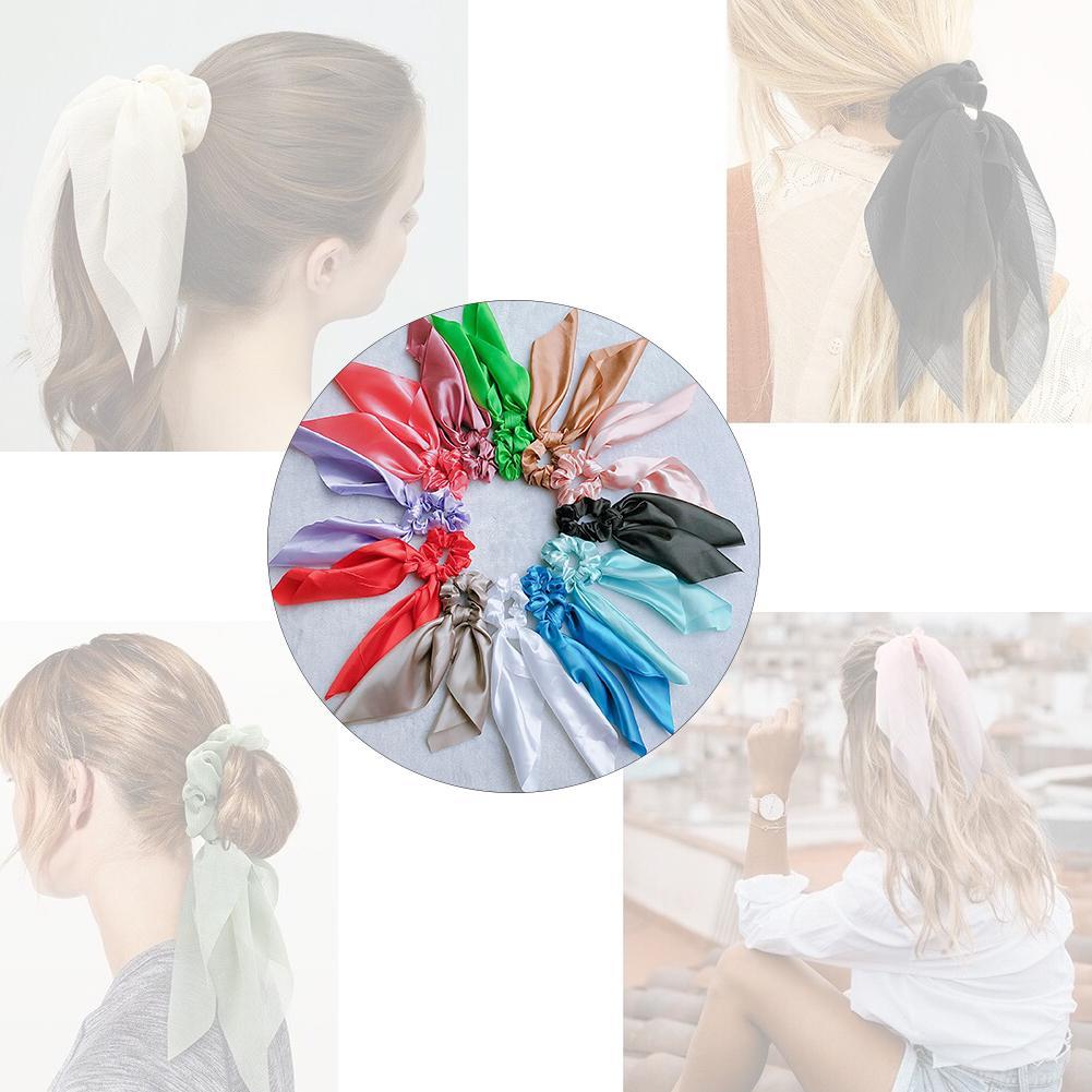 Sweet Flower Hair Scrunchie Girls Ponytail Holder Soft Elastic Hair Ties Rope