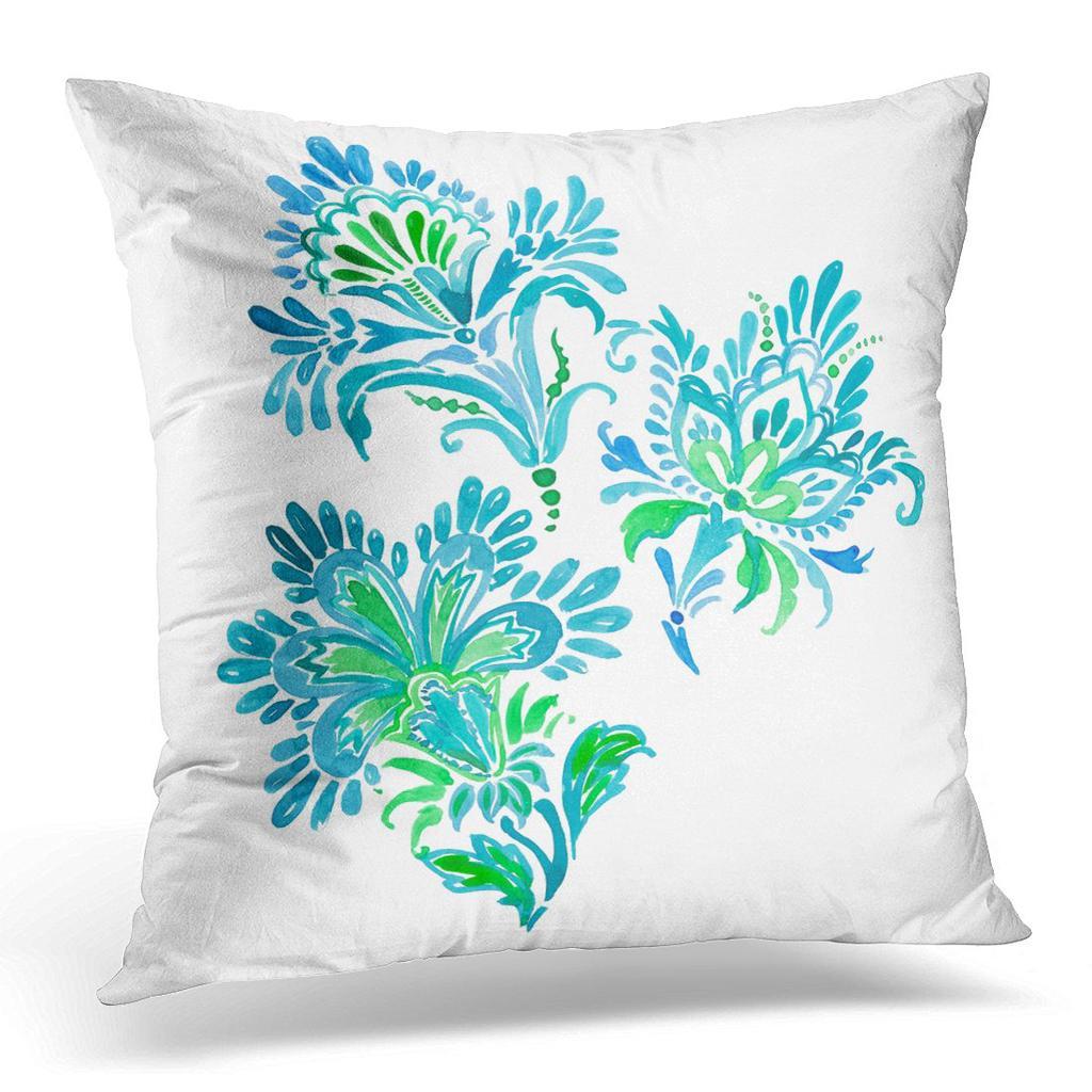 Blu Acquerello Paisley Su Bianco Motifs Di Oriental Con Floreale Verde Cuscino Cuscino Custodia 20x20inch 50x50cm Acquistare A Basso Prezzo Nel Negozio Online Joom