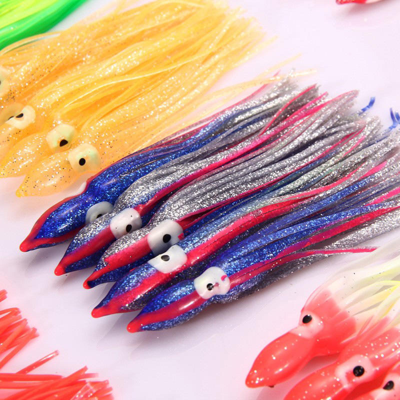 Details about  /10Pcs Octopus Squid Skirt Lure Fishing Soft Plastic Lures Luminous Baits